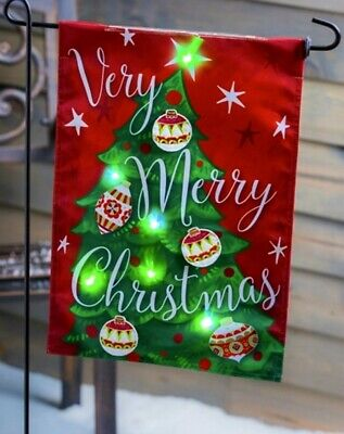 SOLAR Christmas Tree Garden flag. Lights up at night with Color Changing lights!