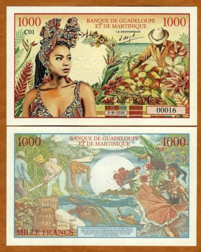 Guadeloupe Martinique, 1000 Francs, 2020, Private Issue Fantasy