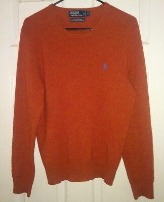Polo Ralph Lauren S 100% Merino Wool Sweater Classic Burnt Orange Color Small