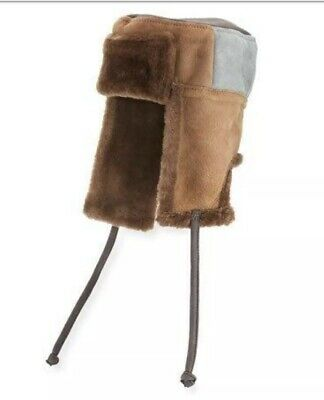 PAUL SMITH Mens Sheepskin Chapka Hat Brown/Gray Colorblock LARGE Eng. NWT $295