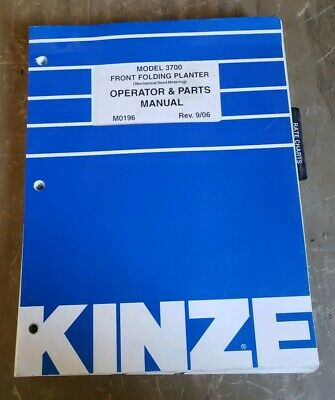 Kinze 3700 Front Folding Planter Operatorsparts Manual M0196 1j-2392-y21