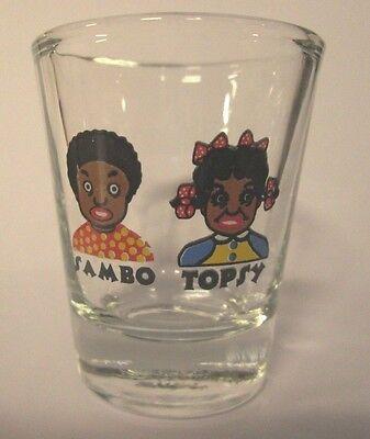 LITTLE BLACK BOY & GIRL WITH PIGTAILS BLACK AMERICANA IMAGE SHOT GLASS