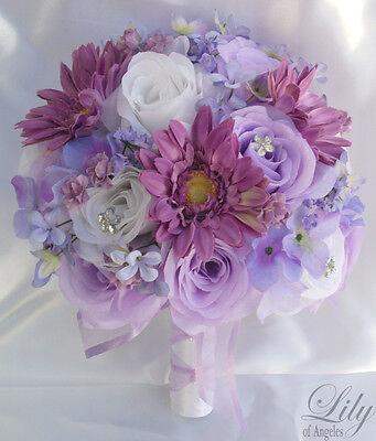 17pcs Wedding Bridal Bouquet Set Decoration Package Flowers LAVENDER daisy rose Daisy Rose Wedding Bouquet