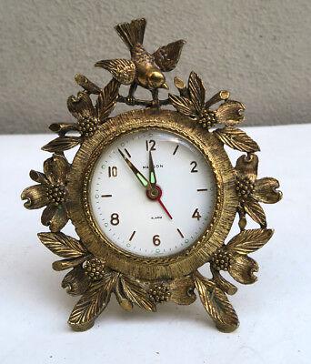 MATSON Vintage jewelry Dogwood Bird Clock gilt Filigree brass mechanical works