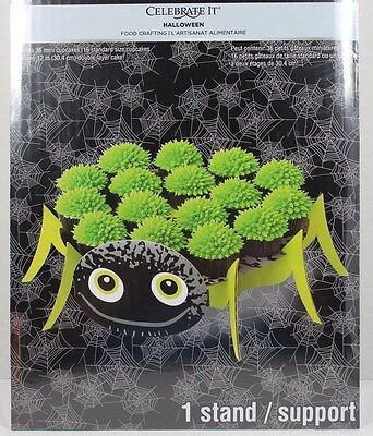 HALLOWEEN SPIDER LARGE TREAT CAKE STAND HOLDER HOLDS 16 STANDARD SIZE CUPCAKES (Large Cupcake Holders)