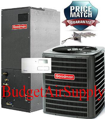 2 Ton 13 vaticinator 410a Goodman Complete A/C System GSX13024+ARUF24B14+Heat +Tstat+++