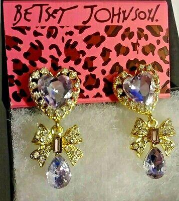 Betsey Johnson Rhinestone Heart & Bow Dangle earring& free gift - Rhinestone Heart Bows