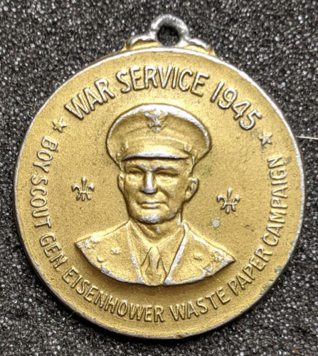1945 War Service Eisenhower Boy Scout Waste Paper Campaign Medal
