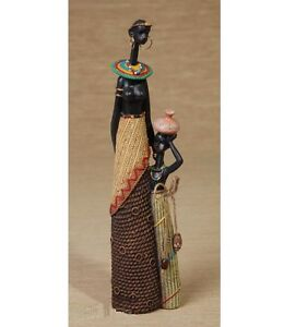 African Lady With Baby Figurine GIFT Hand Painted (32cm Tall)