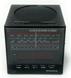 Vintage Retro Magnavox  Digital Alarm Clock Radio Cube D3100 - Working