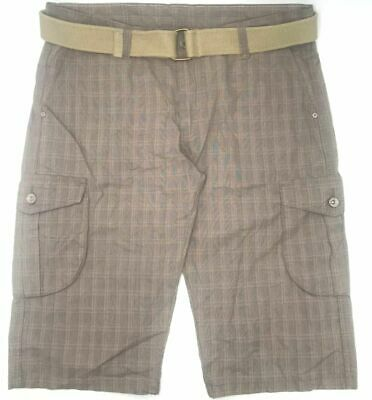 Belted Plaid Jeans ($160 BRAEL JEANS Men BROWN PLAID FLAT FRONT ZIP-FLY BELTED CARGO SHORTS SIZE 36W)