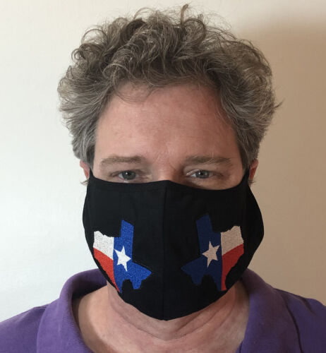 2 pack Large Texas Flag Embroidered Black Face Mask Cotton Washable w/strap