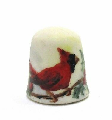 HANDPAINTED CARDINAL RED BIRD IN A TREE BRANCH THIMBLE SIGNED BY ARTIST