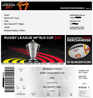 2 Rugby League World Cup Grand Final Tickets