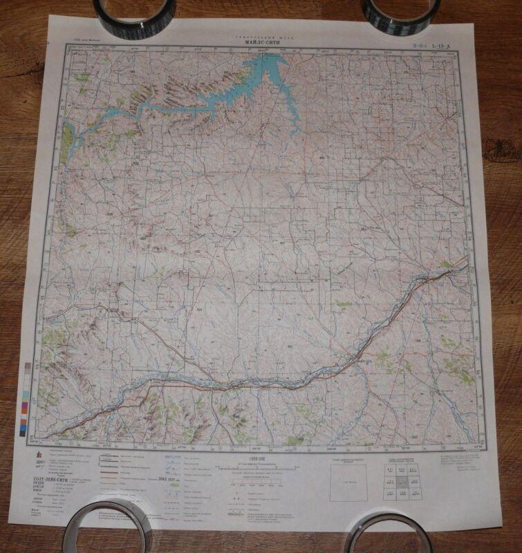 Authentic Soviet TOP SECRET Military Topographic Map Miles City, Montana USA #84