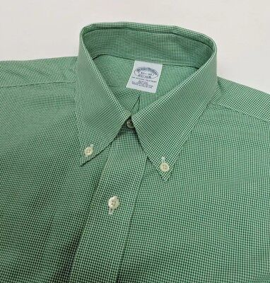 New Brooks Brothers Men Shirt Slim Supima Oxford Green Gingham Check 15.5 RP£115