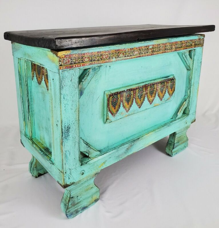 Vintage Solid Wood Storage Chest Trunk Hand Painted Bohemian Moroccan Aqua