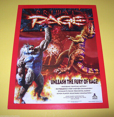 Atari PRIMAL RAGE Original 1994 NOS Video Arcade Game Promo Sales Flyer Adv.