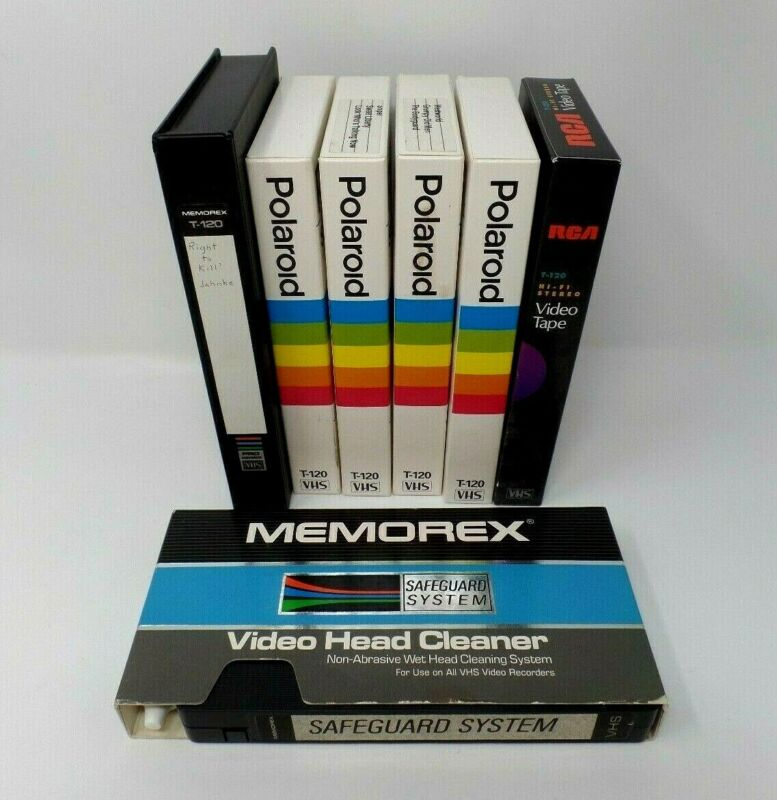 LOT 6 PREVIOUSLY RECORDED VHS TAPES SOLD AS BLANK & MEMOREX VIDEO HEAD CLEANER