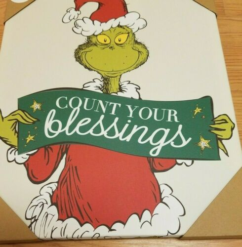 """THE GRINCH """"COUNT YOUR BLESSINGS""""  CANVAS 16 X 20 PRINT."""