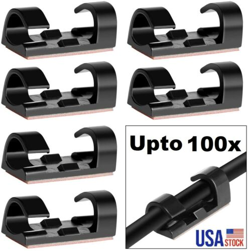 100x Finisher Fixed Clamp Self-adhesive Wire Organizer Clip Holder Cable 7mm dia