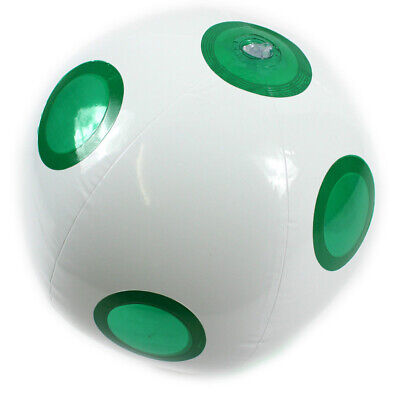 GREEN INFLATABLE SPOTTY BEACH BALL SWIMMING OUTDOOR PARTY HOLIDAY TOY BLOW UP
