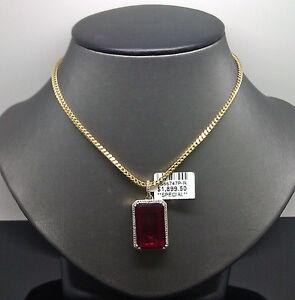 10K Men's Yellow Gold Rectangular Ruby Charm With 0.20CT Diamond #A7B2 Cross