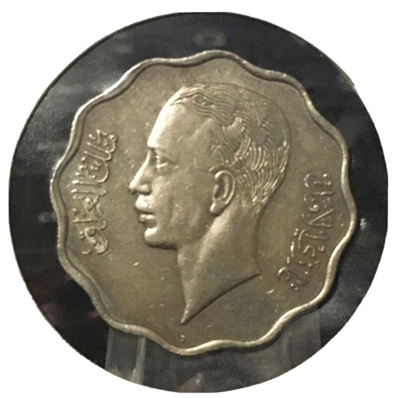 Iraq 10 Fils, 1938-I, King Ghazi Copper -Nickel Coin, Km# 103a . الملك غازي