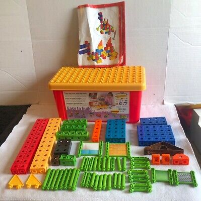 TRIO FISHER PRICE BUILDING SET 107 Pc IN STORAGE BOX P6838 BRICKS Not Complete
