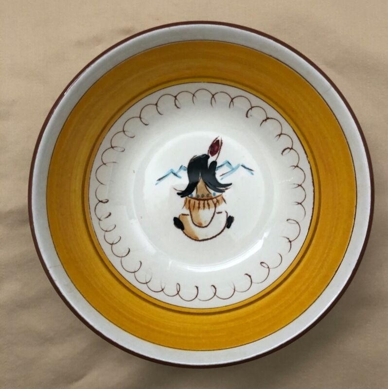 Stangl Kiddieware Childs Bowl - INDIAN CAMPFIRE - EXCELLENT