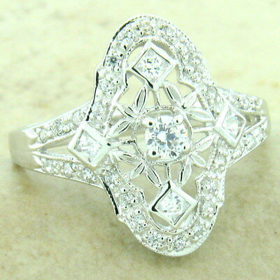 VICTORIAN PLATINUM & 925 STERLING SILVER ANTIQUE STYLE CZ RING SIZE 6,     #1155