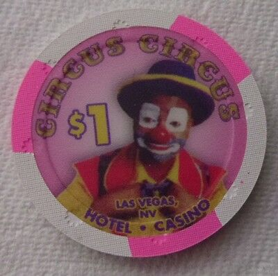 CIRCUS-CIRCUS Casino Las Vegas CLOWN $1 Poker CHIP  ~ UNCIRCULATED
