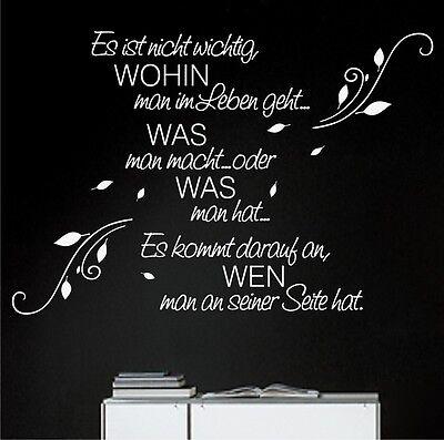 Wandtattoo WOHIN man im Leben geht... Blumenranke Wandtatoo Schlafzimmer Sprüche - Mans Leben