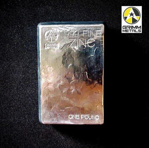 1 Pound .999 Fine Zinc Bullion Stacker Bar - Hand Poured - Hand Stamped