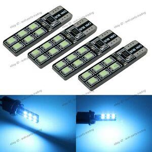 4x Aqua Blue No Error T10 W5W 2825 LED Bulbs For Parking City Eyelid Light 2B