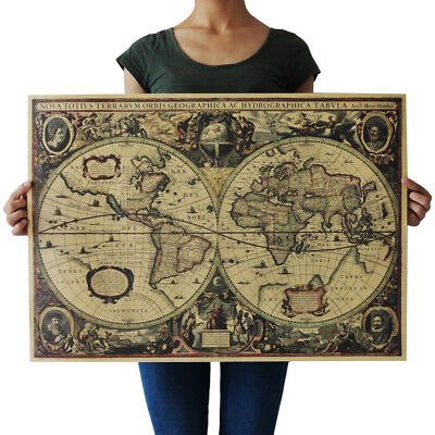 (Retro Vintage Globe Old World Map 71x50cm Matte Brown Paper Poster Decor NT5)