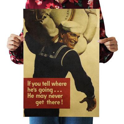 US Seller- master bedroom ideas World War II sailor kraft paper retro poster (Sailor Ideas)