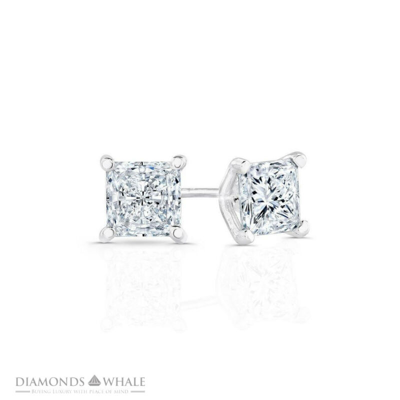 Stud Enhanced Princess Diamond Earrings 0.9 Ct Vs1/d 14k White Gold Engagement