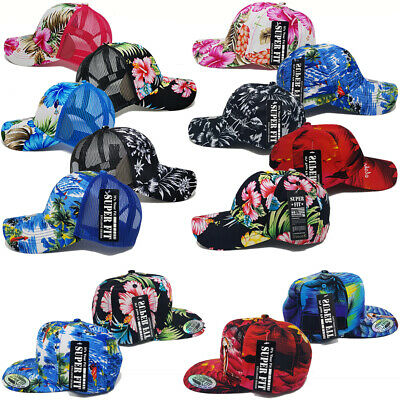 Hawaiian Hat Tropical Trucker Mesh Baseball Women Men Flower Floral Cap - Tropical Hat