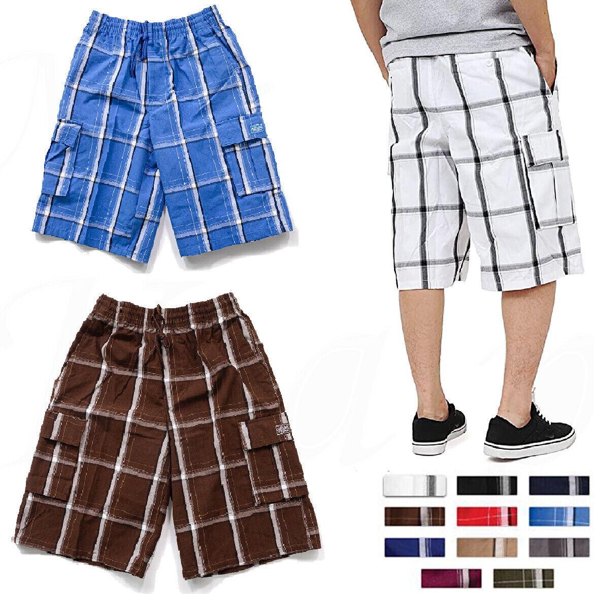 Plaid Cargo Shorts Pants Men Checker Multi Pockets Summer Ca