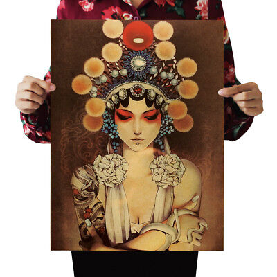 US Seller- unframed wall art Chinese Opera Mulan kraft paper retro poster