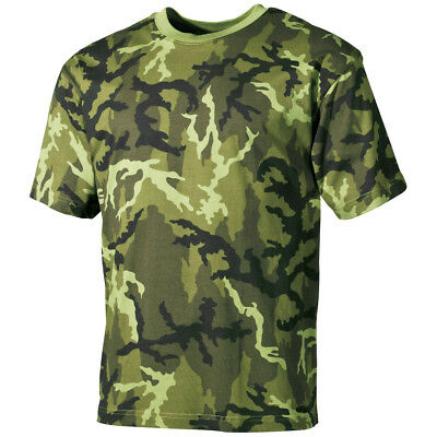 (Army T-Shirt Military Mens Top Combat Vest 100% Cotton Czech Woodland Camo S-3XL)
