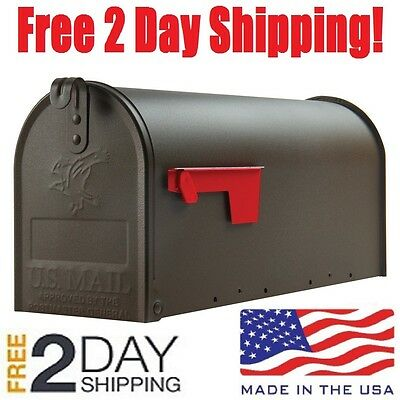 Medium Premium Steel Rural Designed Mailbox Bronze Solar Group Post Mail Box New