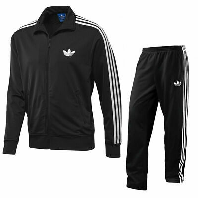 Men's Adidas Originals Adi Firebird Full Zip Full Tracksuit Set Black Polyester