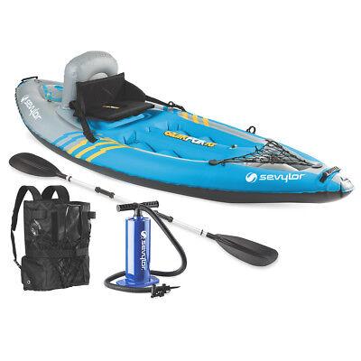 1 Person Inflatable Kayak (Coleman 2000014137 Sevylor 1-Person Durable Inflatable Coverless Quikpak Kayak )