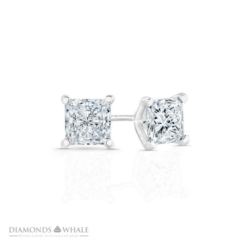 Engagement Diamond Earrings 0.7 Ct Si2/f Stud Princess 14k White Gold Enhanced
