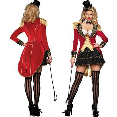 Carnival Ringmaster Ladies Fancy Dress Circus Lion Tamer Womens Adults Costume](Female Lion Tamer)