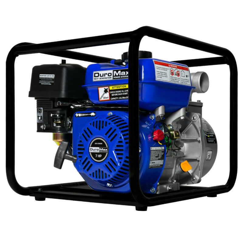 Duromax 7 HP 2 inch Gasoline Water Pump Blue / Black Refurbished