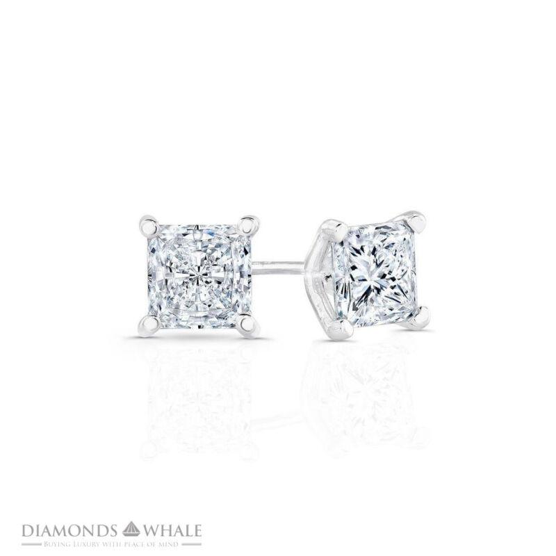 Engagement Diamond Earrings 1 CT SI2/F Stud Princess 14K White Gold Enhanced DM