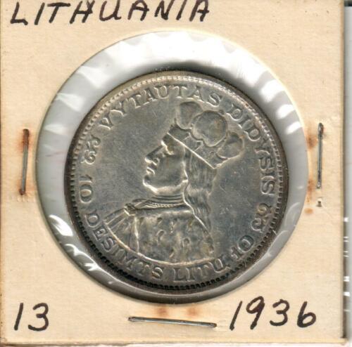 1936 Lithuania 10 Litas Silver Coin
